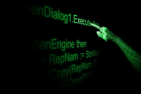 operand: 3d cyber hand execute program code Stock Photo