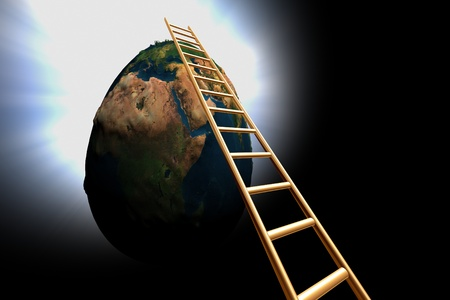 go up: ladder to go up 3d earth in black space