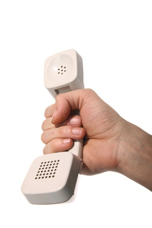 phone ring in human hand on white Stock Photo - 8515864