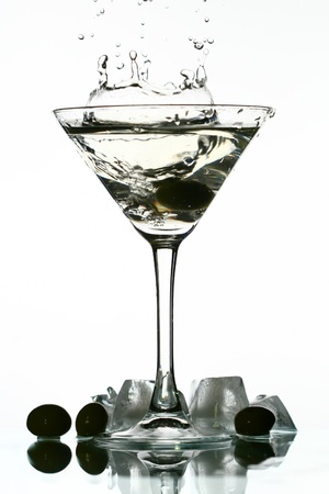 martini splash: alcohol martini splash mixed cocktail Stock Photo