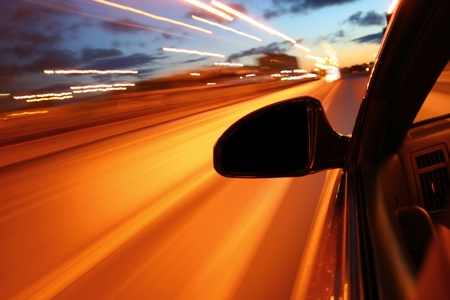night drive motion blurred transportation background Stock Photo - 8516180