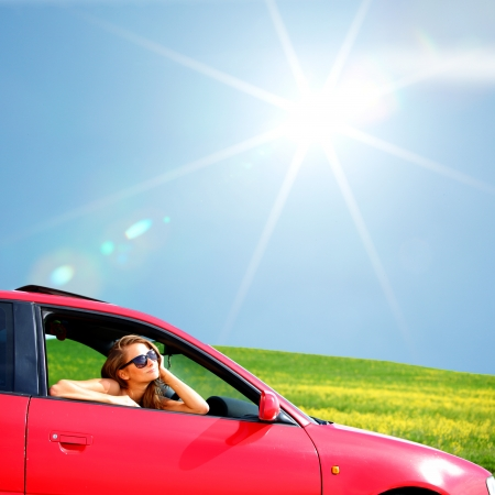 summer sale: woman in red car get out window