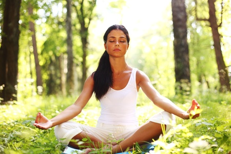 yoga woman on green grass in forest Stock Photo - 8587145