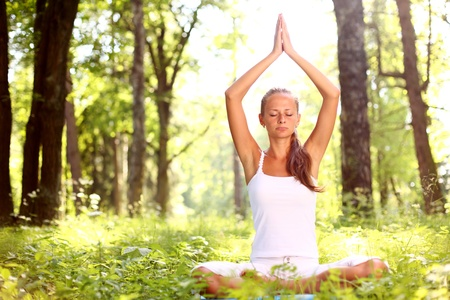 yoga woman on green grass in forest Stock Photo - 8585783