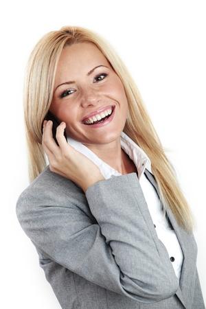 amigas conversando: tel�fono de llamada de mujer de trabajo aislado en fondo blanco
