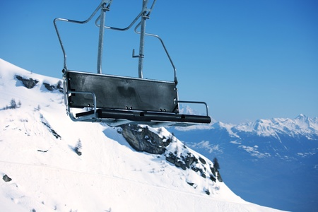 elevator ski mountains on background Stock Photo - 8586474