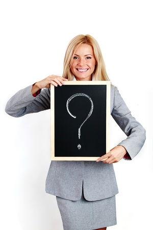 business woman take question sign in hands Stock Photo - 8586930
