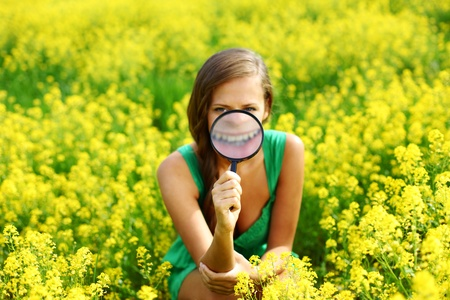 botanist woman in yellow flower field Stock Photo - 8587402