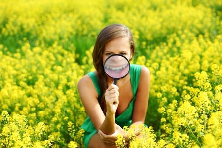 botanist woman in yellow flower field Stock Photo - 8587402
