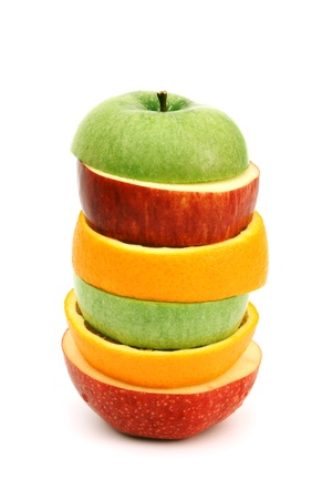 apple and orange: apple orange pile coctail isolated on white