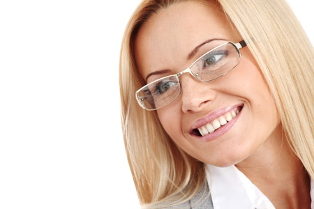 woman wearing glasses: business woman in glasses on white background