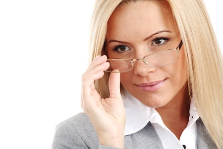 wearing glasses: business woman in glasses on white background