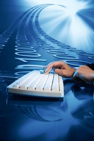 input: businessman input data information on keyboard