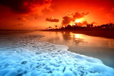 landscape ocean sunrise golden sky photo