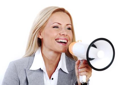 business woman speak in megaphone Stock Photo - 8675860