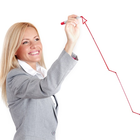 line chart: business woman draws on the glass
