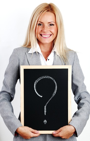 asking: business woman take question sign in hands Stock Photo