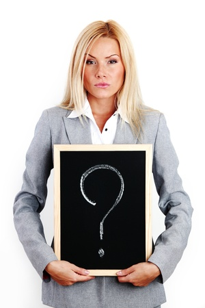 business woman take question sign in hands Stock Photo - 8675927