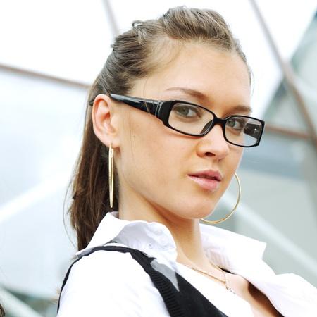 outdoor business women on modern background photo