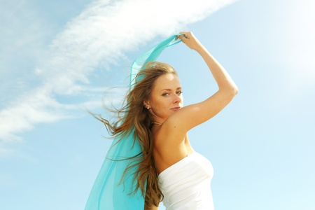 fly girl in the sky freedom concept Stock Photo - 8679040