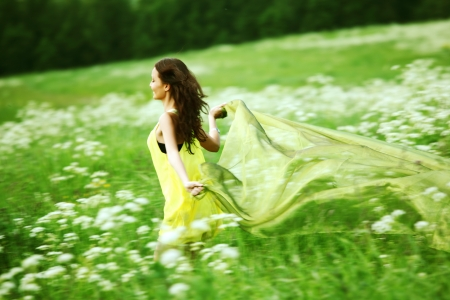 free image: girl run by field fabric in hands fly behind like wings