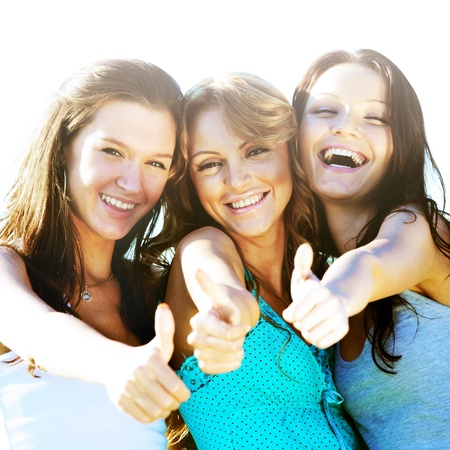 Success joy of girlfriends say hurray Stock Photo - 8679797