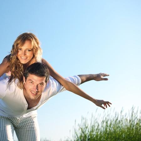 lovers in sky happy in love Stock Photo - 8679031