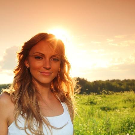 sunrise girl sun shine in the hairs Stock Photo - 8679039