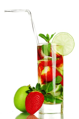 strawberry mojito isolated on white Stock Photo - 8678370