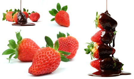 chocolate sauce: strawberry in chocolate  isolated on white