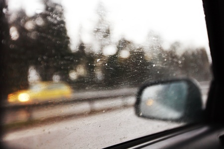 drive on rain window in drops photo