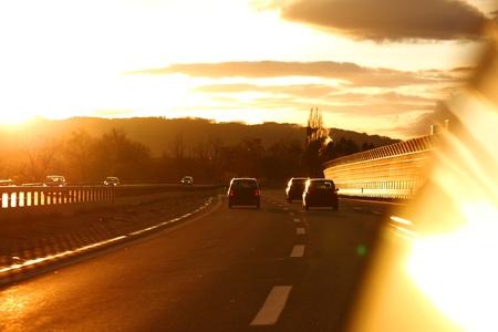 sunrise drive on car photo