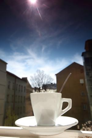 morning coffee in sun shine photo
