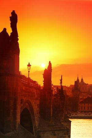 charles bridge Prague at sunset photo