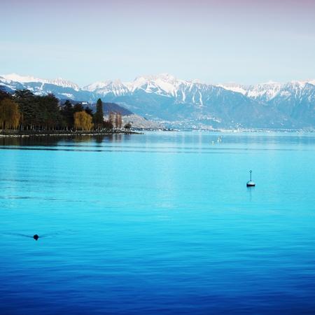 lake geneva landscape on sunrise Stock Photo