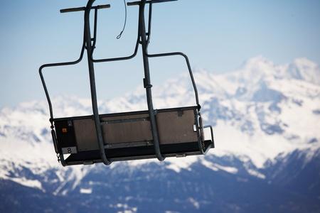elevator ski mountains on background Stock Photo - 8743439