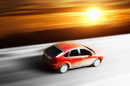 sunrise trip on speed car blurred inmotion photo