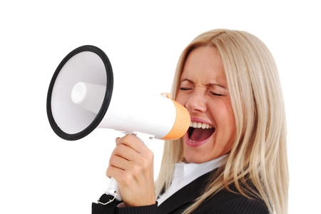 businesswoman with megaphone studio isolated Stock Photo - 8739496