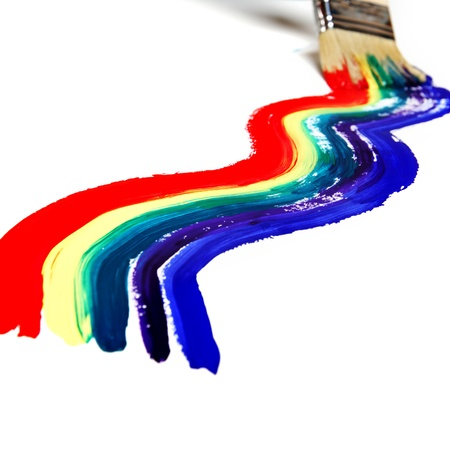 pride: rainbow paint on the white wall