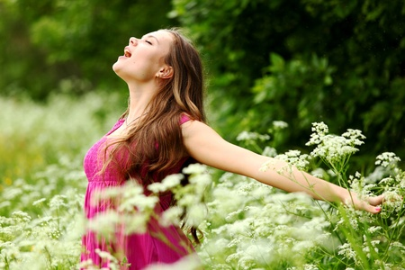 expressing: woman outdoor feel natural freedom Stock Photo