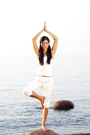 Young woman practicing yoga  near the ocean Stock Photo - 8739774