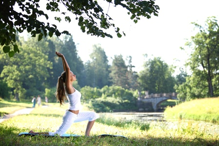 yoga woman on green park background Stock Photo - 8743846