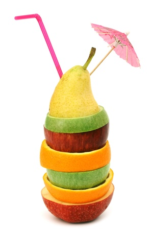 coctail: apple orange and pear pile coctail isolated Stock Photo