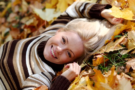 woman portret in autumn leaf close up Stock Photo - 8744276