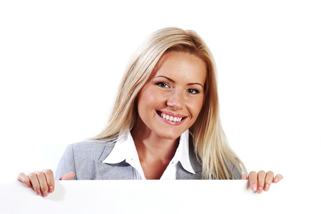 business woman hidden behind a white sheet of paper Stock Photo - 8744011