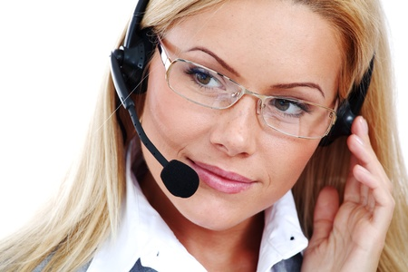 woman call with headset close portrait Stock Photo - 8744169