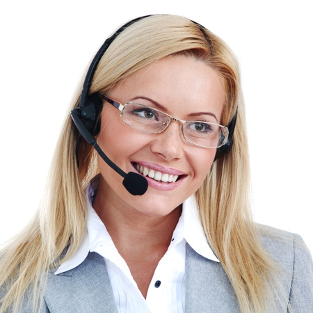 woman call with headset close portrait photo