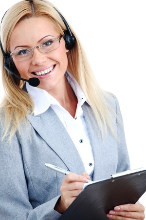 woman call with headset close portrait Stock Photo - 8744274