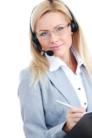 representatives: woman call with headset close portrait