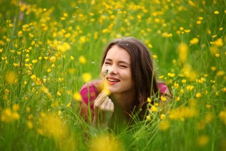 summer woman blow on dandelion  Stock Photo - 8744196